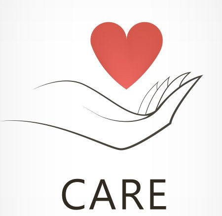 icon of heart hover in palm of a hand with the word care below it